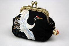 Coin Purse - Chrysanthemum & Crane - Japanese Cotton Fabric with Vintage Metal Frame in Bronze by CottonTimes on Etsy https://www.etsy.com/listing/85697831/coin-purse-chrysanthemum-crane-japanese