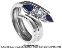 Lynn's diamond and blue sapphire engagement and wedding ring set