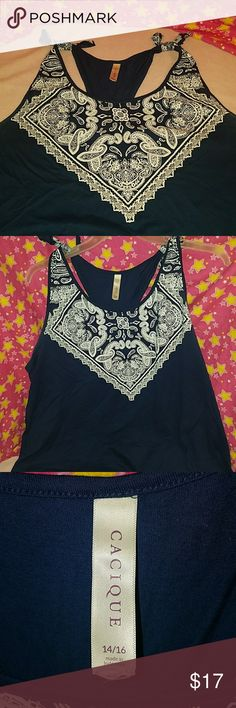 Super cute bandanna tank. Cacique Super cute navy bandana tank. Was technically sleepwear but I wore a few times as a top.  So so cute on. Has minor wear in armpit area. Picture shows. Excellent used condition Cacique Tops Tank Tops