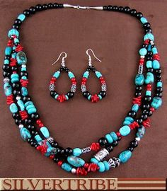 Navajo Indian Silver Multicolor Inlay Bead Necklace And Earring Set DS55795