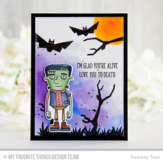 Handmade card from Keeway Tsao featuring Frightful Friends stamp set and Die-namics #mftstamps