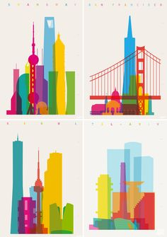 Colorful City Silhouette Prints by Yoni Alter silhouettes posters and prints color architecture