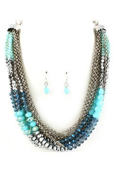 Sapphire Crystal Andrea Necklace & Earrings.