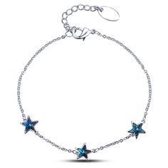 Silver Plated Star Shaped Chain Bracelet (165 PLN) ❤ liked on Polyvore featuring jewelry, bracelets, star jewelry, silver plated jewelry, chains jewelry, star bangle and silver plating jewelry