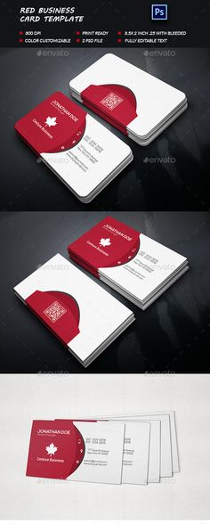 Red Business Card - Business Card Template PSD. Download here: http://graphicriver.net/item/red-business-card/12481456?s_rank=1767&ref=yinkira