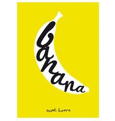 Arte para decorar. Lámina. Plátano. Ilustración. por SomeLikeItShop