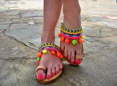 a8ad2f1b12203 Items similar to FREE SHIPPING Pom pom sandals
