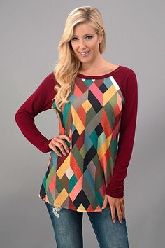 Gia Geometric Print Raglan Top-Bugundy