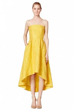 ML Monique Lhuillier Sunshine Day Gown // Yellow strapless dress