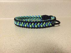Sanctified Paracord Dog Collar-Black/Neon Green/Light Blue