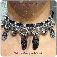 Created by Chained Dragon Designs. Choker with scales #chainmail #scalemail #necklace#choker #ChainedDragonDes.com #jewelry