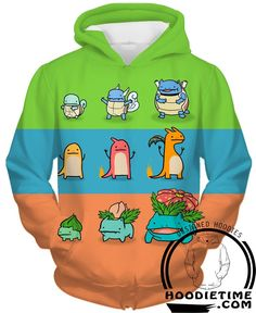 Pokemon - Charmander, Squirtle, Bulbasaur - Pullover 3D Hoodie