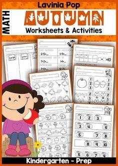 FREE Autumn / Fall MEGA BUNDLE SAMPLER for Kindergarten. Math No Prep Worksheets and Activities.