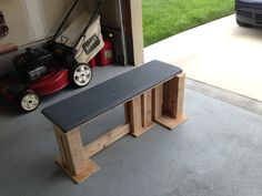 Strong homemade bench for home gym.