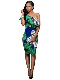 Tbdress.com offers high quality Green One Shoulder Printing Women's Party Dress Party Dresses unit price of $ 18.99.
