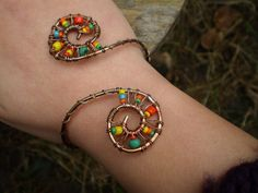 Copper and seed bead spiral cuff bracelet | Flickr - Photo Sharing!