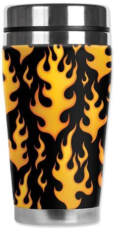 Black Flames Travel Mug  Water Proof Insulated Cup Mugzie Yellow Fire Rocker #Mugzie