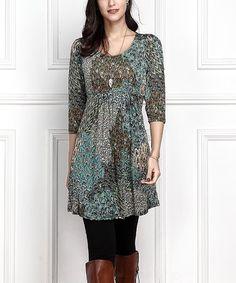 Look at this #zulilyfind! Aqua Peacock Empire-Waist Tunic Dress - Plus Too #zulilyfinds