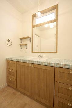 造作洗面台/タイル/洗面室/ナチュラル/注文住宅/インテリア/ジャストの家/tile/washstand/lavatory/powderroom/bathroom/vanity/natural/design/interior/house/homedecor