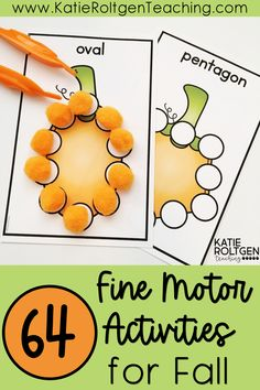 With over 64 hands-on, engaging activities to choose from, your preschool, kindergarten, and first grade students will be strengthening their fine motors skills while developing strong pre-writing skills These fall fine motor activities are perfect for small groups, morning tubs, centers, independent work, and more! Your elementary students will love this fall fine motor activities bundle!