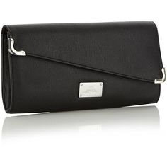Black Diagonal Structured Clutch Bag ($28) ❤ liked on Polyvore