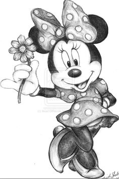 Pencil Portraits - Minnie Mouse by on - Discover The Secrets Of Drawing Realistic Pencil Portraits.Let Me Show You How You Too Can Draw Realistic Pencil Portraits With My Truly Step-by-Step Guide. Pencil Art Drawings, Art Drawings Sketches, Cute Drawings, Minnie Mouse Drawing, Mickey Mouse Drawings, Mickey Mouse Sketch, Mickey Drawing, Mickey Mouse E Amigos, Mickey Mouse And Friends