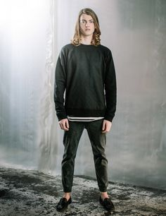 After The Dark - Panel Sweater Quilting Layered Tee Cuff Jeans Loafers Look Book Winter Style