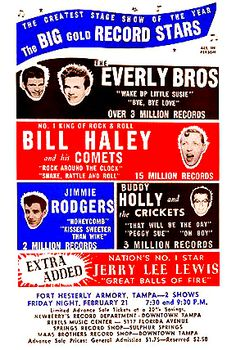 "THIS DAY IN ROCK HISTORY: February 20, 1958: Bill Haley and his Comets, Jerry Lee Lewis, Buddy Holly and the Crickets, The Everly Brothers and Jimmie Rodgers begin the ""Big Gold Record Stars"" tour in Florida."