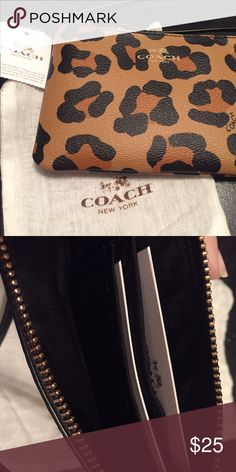 Coach Leopard Wrislet Brand New with tags Coach Leopard Wristlet. Two credit card slots and can hold an iPhone 6 Coach Bags Clutches & Wristlets