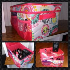 Thirty-one Flip Top Organizing Bin ... Great to store all your mani and pedi supplies. Then flip the top to use set you supplies on! :)