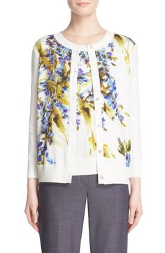 St. John Collection Floral Print Cardigan available at #Nordstrom