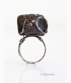 Unique silver ring  Black silver ring  OOAK silver by notAjewelry, $157.00