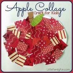The Life of Jennifer Dawn: Fall Apple Crafts for Kids, maybe use cut paint swatches Apple Activities, Autumn Activities, Craft Activities, Activity Ideas, Childcare Activities, Fall Crafts For Kids, Toddler Crafts, Art For Kids, Kids Crafts