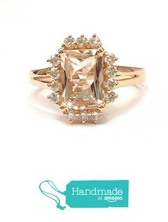 Emerald Cut Morganite Engagement Ring Diamond Halo 14K Rose Gold,7x9mm from the Lord of Gem Rings https://www.amazon.com/dp/B01GXG29G2/ref=hnd_sw_r_pi_dp_KXUxxbWPQ91KC #handmadeatamazon