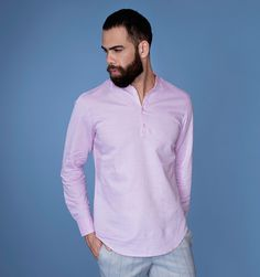 Suggested style: Occasion, Casual Yarn dyed dobby, lightweight men's shirt Collar: Collarless shirt Details: Fabric buttons Model height , chest 39 and is wearing a medium slim fit. Premium Brands, Branded Shirts, Men Online, Casual Shirts, Chef Jackets, Rose, Portal, Stuff To Buy, India