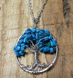Sterling Silver Turquoise Tree Of Life Necklace On Sterling Chain Wire Wrapped Pendant Semi Precious Gemstone Jewelry December Birthstone