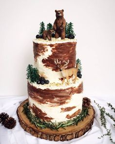 A PNW woodland-inspired birthday cake I made for my animal-loving little sister. - A PNW woodland-inspired birthday cake I made for my animal-loving little sister. Cupcake Birthday Cake, Birthday Cake Girls, Cupcake Cakes, Camping Birthday Cake, Camping Theme, Birthday Parties, Birthday Cake For Baby, Hunting Birthday Cakes, Christmas Birthday Cake