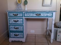 Chalk paint white with milk paint teal and painted on lace pattern