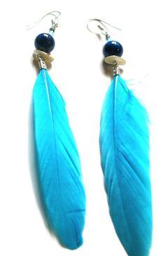 Light blue feathers - KASSI ART FASHION