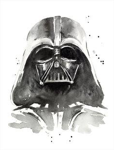 Darth Vader Watercolor Art Print, The Dark Side of Watercolor, Star Wars Art, Geek, Sci-Fi, Portrait by OlechkaDesign on Etsy https://www.etsy.com/listing/225393578/darth-vader-watercolor-art-print-the