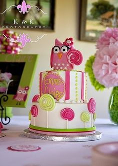 Fabulous Pink Owl and Lollipop 1st Birthday Cake! Pinks and Greens. Made by @Heather Bailey of Social Bites of Ruston, LA.