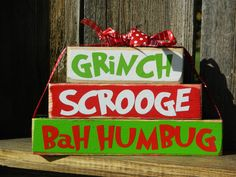 Christmas Wood blocks Grinch wood Stackers by BuzzingBeesCrafts, $8.00