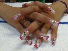 Pink and zebra print nails Zebra Print Nails, Aztec Nails, Acrylic Nail Tips, Cute Acrylic Nails, Long Nail Designs, Nail Art Designs, Sinaloa Nails, Flare Nails, Baby Pink Nails