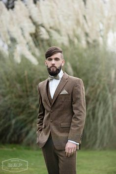 Lilly Dilly's handmade bespoke bowtie, pocket handkerchief and alternative buttonhole. Photo courtesy of Green Button Photography, mens suit & waistcoat courtesy of Duncan James Menswear Walsall. #wedding #bowtie #handkerchief #button hole #boutonierre #beige #brown #groom #ushers #bespoke #handcrafted