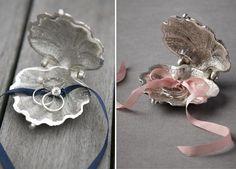 4 Ringkissen Muschel band hochzeit pink blau idee modisch1 Ringkissen mal anders und Ringkissen selber machen