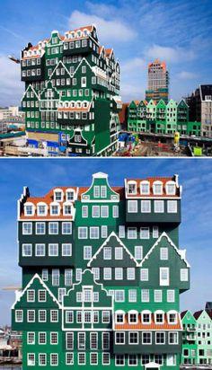 The Inntel Hotel-Κάθε ξενοδοχείο της συγκεκριμένης αλυσίδας μοιάζει με ένα puzzle μικρών σπιτιών που έχουν τοποθετηθεί το ένα πάνω στο άλλο. Ο σχεδιασμος του έγινε από την WAM Architecten Company. Το μεγαλύτερο ξενοδοχείο αυτής της αλυσίδας είναι ένα κτήριο 11 ορόφων με 160 δωμάτια.