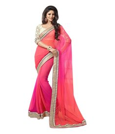 Georgette Lace Work Plain Pink Saree - 2D at Rs 799