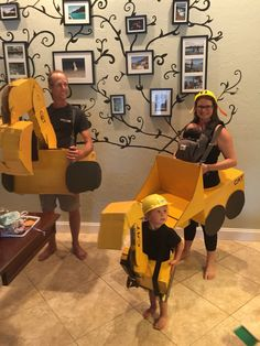 Construction machine family! Excavator, mini excavator, and front loader costumes made from boxes! Happy Halloween!