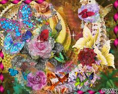 Contest Papillons Flowers Gif, Montage Photo, Butterfly, Gifs, Painting, Animals, Beautiful, Ideas, Good Night