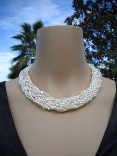 Teresa Necklace  10 strand freshwater pearl by BoldRocksJewelry, $110.00